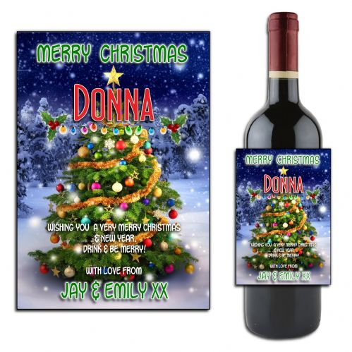 Personalised Christmas Wine or Champagne Bottle Label N174